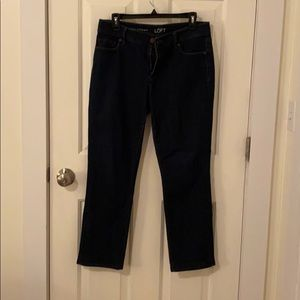 Dark Blue Loft Curvy Straight Jeans